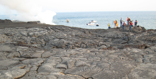 As part of Volcano Awareness Month, USGS scientists led a hike to the Waikupahana ocean entry flow