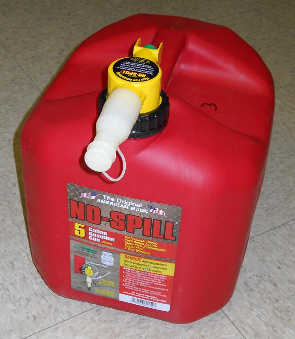 No-Spill 5-gallon Gasoline Cans. The gas containers can leak fuel at the black plastic collar where the spout connects to the can, posing fire and burn hazards to consumers.