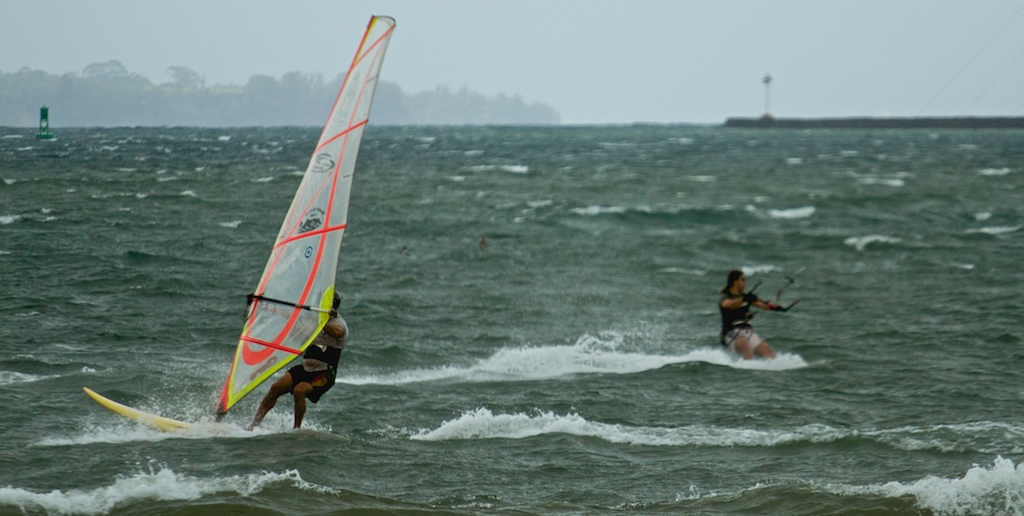 The gusty winds in East Hawaii gave windsurfers and kiteboarders a treat as they shredded Hilo Bay all day.