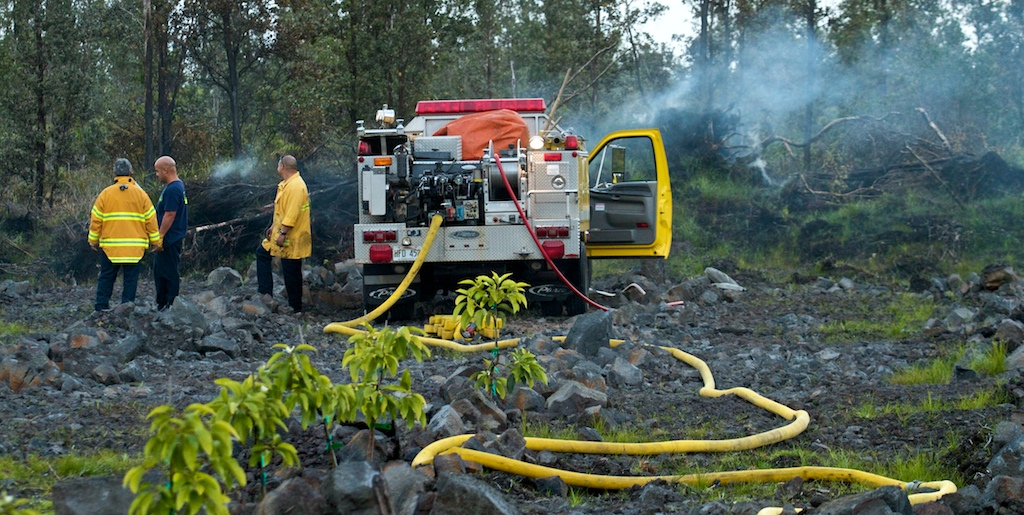 Fire crews responded to a 4:46 p.m. alarm Monday (Feb 8) for a brushfire in Fern Acres between 1 Road (Uhina Ana Road) and Plumeria Street.