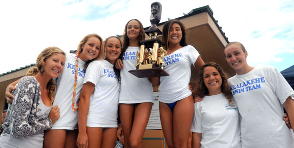 Kealakehe girls take the overall HHSAA crown by coming in third place int he 400 meter freestyle relay.