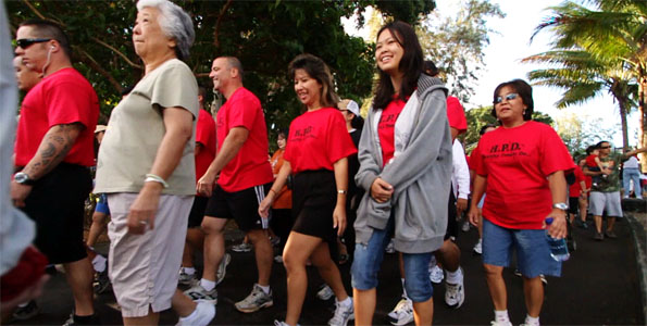 Walkers took to the sidewalks of Hilo in the 13th Annual Hawaii Heart Walk and Health Fair Saturday (Feb 20). Video of the Heart Walk.