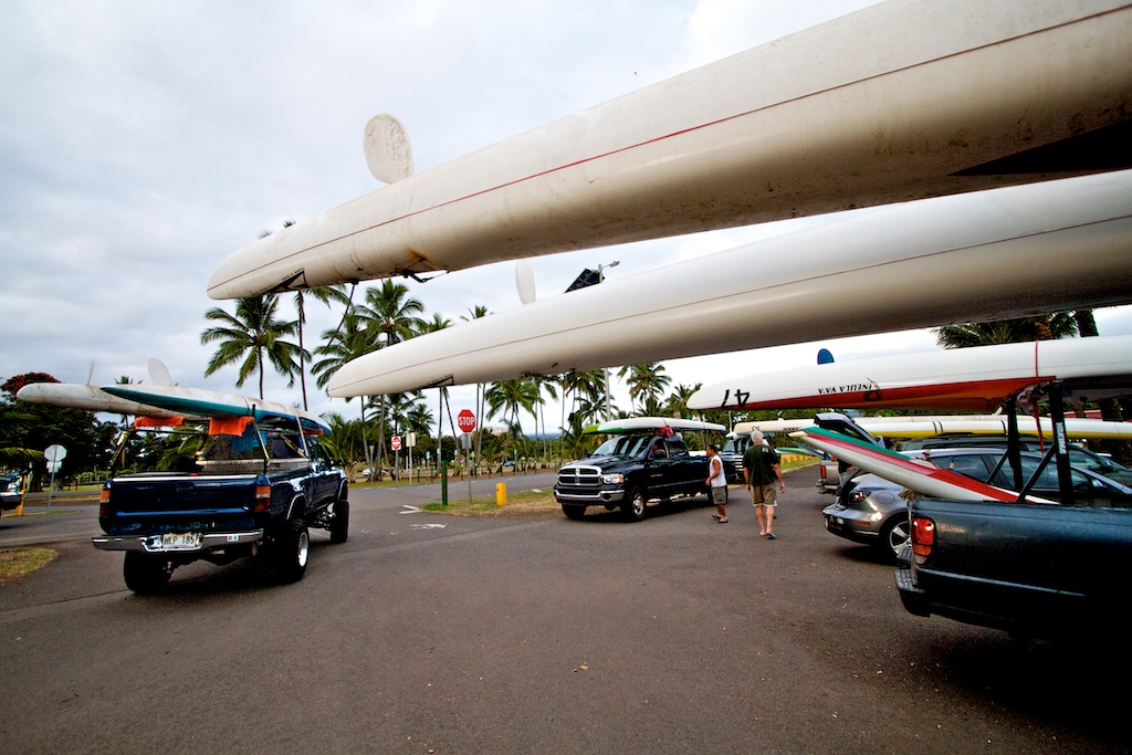 Police are stationed at all intersections of the tsunami inundation zone and canoe paddlers got their gear out of canoe halau at Hilo Bayfront.