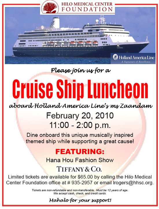 Benefit lunch aboard ms Zaandam (Feb. 20)