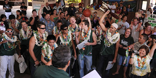 The Pahoa Daggers are the 2010 Boys Division II State Basketball Champions and they arrived to a hero's welcome at Hilo International Airport Sunday (March 7).