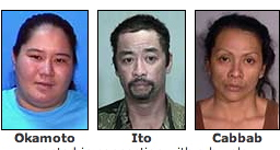 "Big Island police are asking for the public's help in locating two women and one man in connection with a burglary on January 13. Police are seeking 29-year-old Lorene ""Rene"" Okamoto, 44-year-old Lorne Ito and 34-year-old Diana ""Malia"" Cabbab."