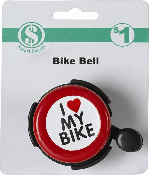"""The red paint on the bicycle bells contains excessive lead levels, violating the federal lead paint standard. This recall involves children's bicycle bells. The bells are red, black and white and has """"I ♥ My Bike"""" printed on the top. The green and white packaging reads """"bike bell"""" and """"$1."""""""