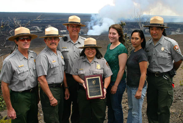 Hawaii Volcanoes National Park eruption duty rangers receive Andrew Clark Hecht Public Safety Achievement Award
