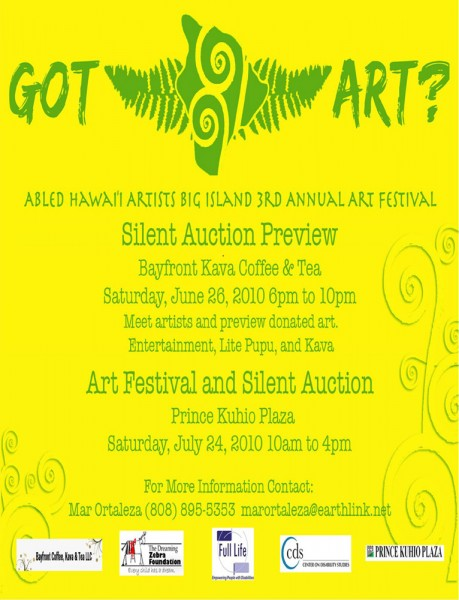 Art Festival and Silent Auction at Prince Kuhio Plaza.