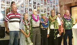 "Inductees into the Hall of Fame are Richard Nakano, Morris ""Mo"" Mathews, Harold ""Russian"" Furtado, Manny Vincent, Ruth E.K. Walker, Hamilton Manley, and Francis ""Bo"" Saiki."