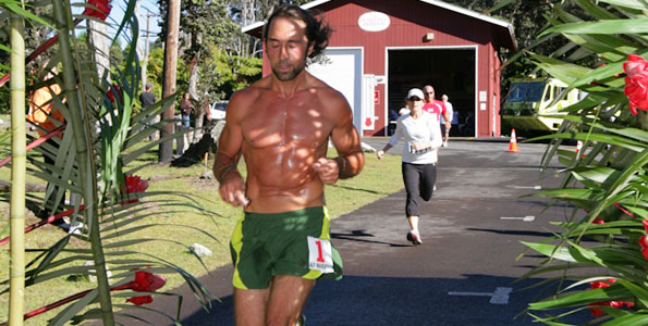 Billy Barnett, of Volcano, Hawaii, finished first in the 2010 Volcano Art Center Rain Forest Run half marathon with a time of 1:16:44 Saturday (Aug 21).