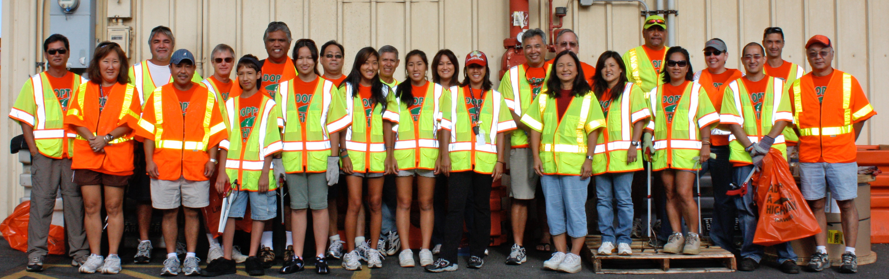 As part of the Adopt-A-Highway program, Hawaii Electric Light Company (HELCO) employees cleaned a stretch of Kanoelehua Avenue on August 14, 2010.  Over 20 volunteers spent two hours on Saturday morning picking up litter along busy Kanoelehua Avenue, from Puainako Street to Kamehameha Avenue. The team effort was coordinated by HELCO's Engineering Department.