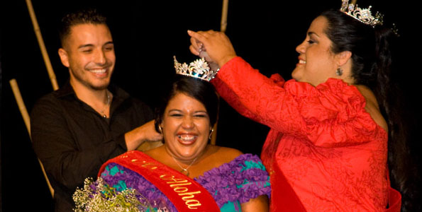 Ms. Aloha Nui 2009 Darde Gamayo , right, places the crown on the new Ms. Aloha Nui Kalae Yonemura after winning the 18th Annual Ms Aloha Nui Pageant at the Waikoloa Beach Marriott.