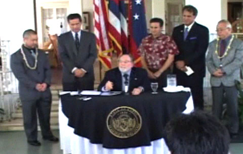 Governor Neil Abercrombie today signed into law the civil union bill making Hawai'i the seventh state in the nation to recognize civil unions.  The bill signing ceremony took place this afternoon at Washington Place among key lawmakers and about 100 invited guests who helped move passage of the measure through the legislature.