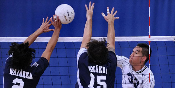 In a boy's BIIF volleyball game the Waiakea Warriors defeated the host Kamehameha Warriors 25-21, 19-25, 25-12, 25-19.