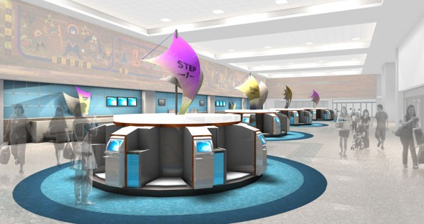 Artist rendition of future check-in lobby for Hawaiian Airlines
