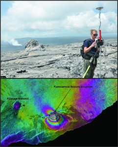 Top: Nicole Richter uses a mobile GPS instrument to measure ground deformation along the east rift zone while the Kamoamoa fissure erupts in the background. Bottom: InSAR data showing ground deformation associated with the Kamoamoa fissure eruption between January 19 and March 6, 2011. One color cycle indicates about 12 cm (5 in) of deformation. The color patterns indicate subsidence of Kilauea's summit of about 7 cm (3 in) and uplift in the area of the fissure eruption of about 1 m (3 ft).