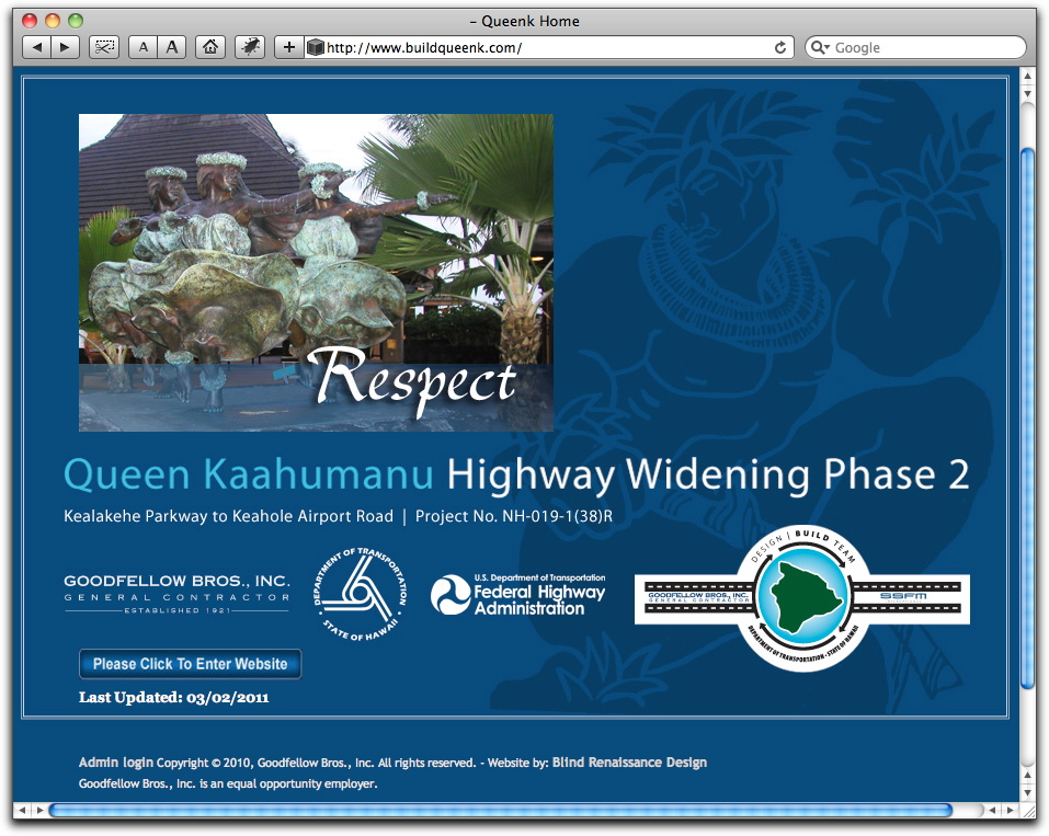Queen Kaahumanu Highway Widening Phase 2 website available for information regarding the 21 month project slated to begin as early as April 2011. The 5.2 mile project will widen the highway from just south of Kealakehe Parkway to just north of Kona International Airport to two lanes in each direction.