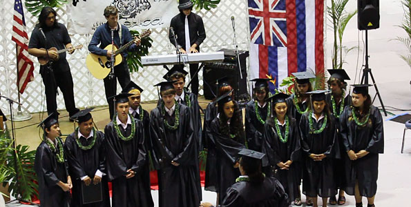 Coming in at the tail end of the commencement season is Connections Public Charter School with their graduation at Afook-Chinen Civic Auditorium. The Class of 2011 sings David Bowie's 'Changes' as a class song.