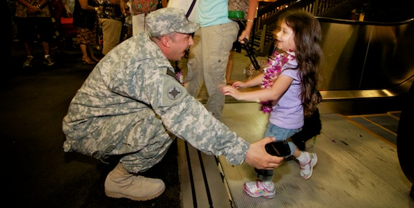 Navy Lt. Carlos Reyes hadn't seen his three year-old daughter Maya in six months while stationed in Afghanistan, Hilo gave him a reunion. The inaugural daily flight from Los Angeles arrived early, full and captained by a Hilo native.