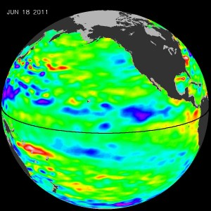 The latest satellite data of Pacific Ocean sea surface heights from the NASA/European Ocean Surface Topography Mission/Jason-2 satellite show near-normal conditions in the equatorial Pacific. The image is based on the average of 10 days of data centered on June 18, 2011. Higher (warmer) than normal sea surface heights are indicated by yellows and reds, while lower (cooler) than normal sea surface heights are depicted in blues and purples. Green indicates near-normal conditions. Image credit: NASA/JPL Ocean Surface Topography Team
