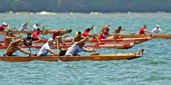 The Men's Sophomore one-mile race in Hilo Bay Saturday (June 18) at the Kailana Canoe Club regatta.