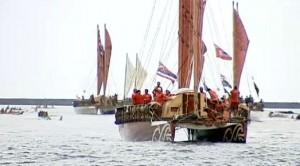 Polynesian sailing canoes in Hilo Bay. Photo by BigIslandVideoNews.com