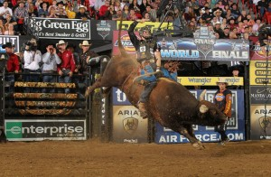 McKennon Wimberly in the PBR 2010 World Final. Photography by Andy Watson