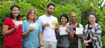 The Kona Community Hospital (KCH) Auxiliary for many years now has been providing scholarships to local students who are interested in becoming a registered nurse and want to continue to stay in the community.  This year was no different.  They recently distributed five $2500 nursing scholarships, totaling $12,500.  Recipients included Rachel Able, Barbara Gampon, Omer Margolin, Julia Marks and Stephanie Tinao, who will attend either Hawaii Community College-West Hawaii or University of Hawaii-Hilo.