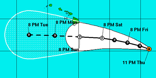 At 11 p.m. HST the center of Tropical Storm Fernanda was located 840 miles East-Southeast of South Point Hawaii. Maximum sustained winds of 50 mph with higher gusts
