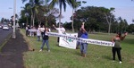 "The Hawaiʻi Police Department's Traffic Services Section organized a sign-waving event on Kamehameha Avenue in Hilo on Wednesday (August 3) to raise awareness that August is ""Pedestrian Safety Month"" for the State of Hawai`i."
