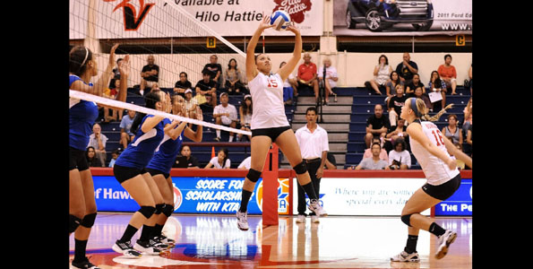 The UH-Hilo Lady Vulcans defeated the Chaminade Silverswords in straight sets Friday night at UHH Gym. Photos from the match.