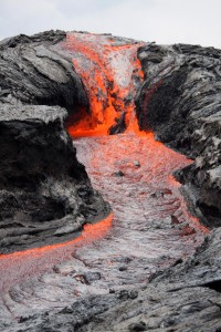 Lava falls formed at a topographic break in slope near the eastern base of Pu'u 'O'o. The cascade is about 6 m (20 ft) high.