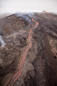 Lava channel fed by September 21 fissure eruption coursing down the east flank of Pu'u 'O'o.