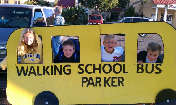 "Parker's ""Walking School Bus"" with student walkers Lindy Billhardt, Ikaika Ward, Collins Billhardt and Bennett Varney."