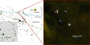 Figure 2 The location of LkCa 15 can be found using this chart. Credit: Adam Kraus/IAU/Sky & Telescope