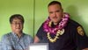 """The Aloha Exchange Club of East Hawaiʻi recognized Officer Michael Santos on Thursday (October 27) as """"Officer of the Month"""" for October.   Santos, a patrol officer in the South Hilo District, was honored for for his outstanding work in arresting a wanted convicted felon for two no-bail probation violation warrants and several felony offenses."""