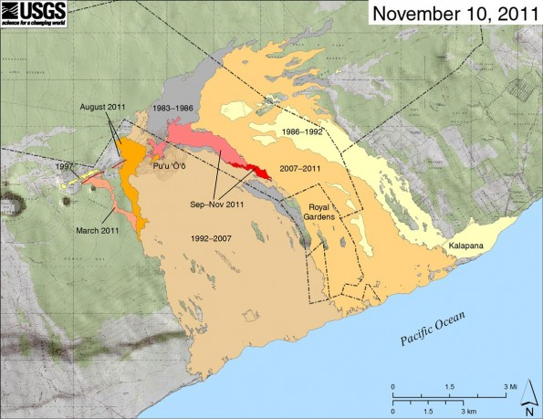 Map showing the extent of lava flows erupted during Kīlauea's ongoing east rift zone eruption and labeled with the years in which they were active. Episodes 1–48b (1983–1986) is shown in dark gray; Episodes 48c–49 (1986–1992) is pale yellow; Episodes 50–53 and 55 (1992–2007) is tan; Episode 54 (1997) is yellow; Episode 58 (2007–2011) is pale orange; the episode 59 Kamoamoa eruption (March 2011) is at left in light reddish orange; and the episode 60 Pu'u 'Ō'ō overflows and flank breakout (Mar–August 2011) is orange. The currently active flow (episode 61) is shown as the two shades of red—pink is the extent of the flow from September 21 to November 3, and bright red marks flow expansion from November 3 to November 10. The contour interval on Pu'u 'Ō'ō is 5 m.