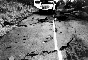 Hawaii Volcanoes National Park. Kalapana earthquake of November 29, 1975. Collapse offsetting the center line of Chain of Craters Road just south of Pauahi Crater. Photo courtesy of USGS/HVO