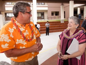 Hawaii County Mayor Billy Kenoi, left, chats with UH President M.R.C. Greenwood prior to presentation of $9.68 million to the UH for the West Hawaii campus at Palamanui. Photo by Michael Darden