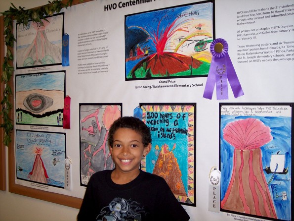 Hawai`i Island 4th grade student Jyron Young was awarded the Grand Prize in HVO's centennial poster contest for his stunning artwork depicting 100 years of volcano watching (top center). USGS photo.