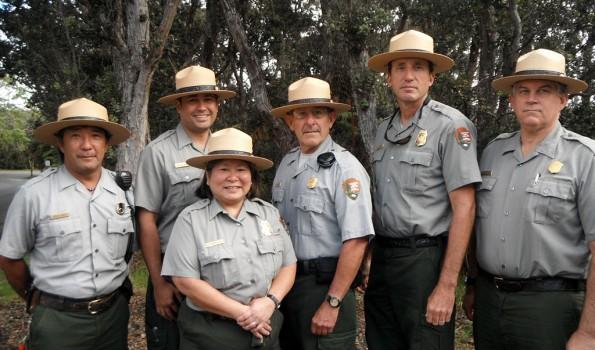 Hawaii Volcanoes National Park Search and Rescue Team, left to right: Park Rangers Arnold Nakata, Nainoa Keana'aina, Gail Minami-Judd, John Moraes, John Broward, and Greg Santos. Photo courtesy of NPS
