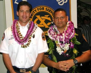 'Firefighter of the Year' Jesse Ebersole and 'Officer of the Year' Erhard Autrata