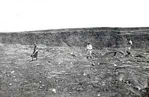 Floor of caldera near southeast rim of Halemaumau at 11 a.m. on May 13, 1924. Photo by R.H. Finch