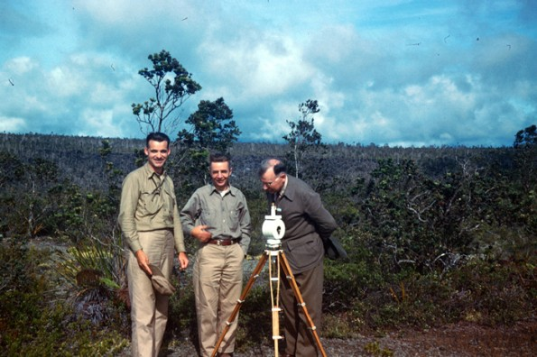 Magnetometer setup in Hawaii Volcanoes National Park. Gordon Macdonald, H.R. Joesting, and Ruy Finch inspecting the arrangement in 1951. Photo courtesy of USGS/HVO