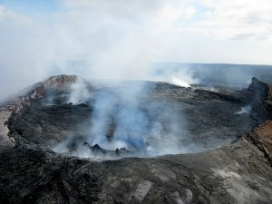 A perched, actively circulating lava lake in the Pu'u 'O'o crater fumed vigorously on May 21, 2012 (view to southwest). Photo courtesy of USGS/HVO