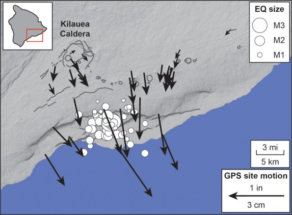 This map shows seismicity (white circles) and deformation from GPS stations (black arrows) that occurred at Kilauea during the week of May 28, 2012.  GPS arrow length indicates the magnitude of motion according to the scale in the lower right, and earthquake circle size indicates the earthquake magnitude according to the key in the upper right.  In just a few days, the coast moved by up to 4 cm (1.5 in) towards the sea, and a swarm of small earthquakes (less than M3.5) occurred—hallmarks of a slow earthquake! Map courtesy of USGS/HVO