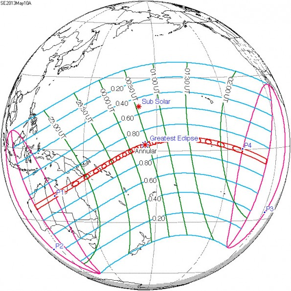 May 10, 2013 Solar Eclipse Map. Map courtesy of NASA