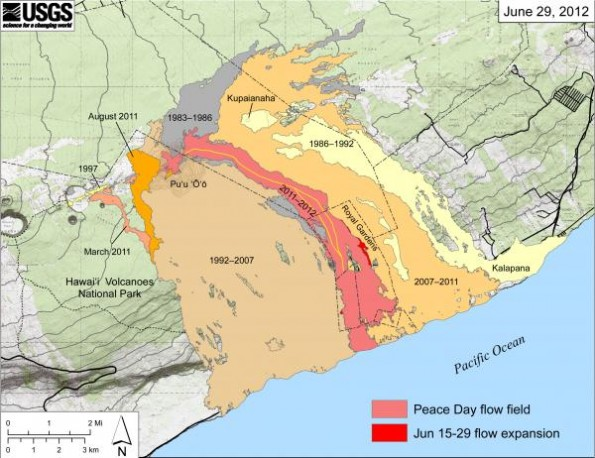 Map showing the extent of lava flows erupted during Kilauea's ongoing east rift zone eruption and labeled with the years in which they were active. Episodes 1-48b (1983-1986) are shown in gray; episodes 48c-49 (1986-1992) are pale yellow; episodes 50-53 and 55 (1992-2007) are tan; episode 54 (1997) is yellow; episode 58 (2007-2011) is pale orange; the episode 59 Kamoamoa eruption (March 2011) is at left in light reddish orange; and the episode 60 Pu'u 'O'o overflows and flank breakout (Mar-August 2011) are orange. The currently active Peace Day flow (episode 61) is shown as the two shades of red—light red is the extent of the flow from September 21, 2011, to June 15, 2012, and bright red marks flow expansion from June 15 to June 29. The active lava tube is delineated by the yellow line within the active flow field. The contour interval on Pu'u 'O'o is 5 m.