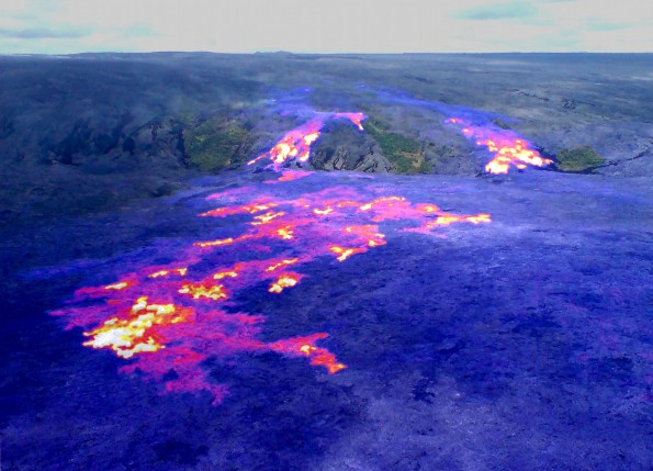 Lava flows remain active on the pali and coastal plain, but the flow front has made no significant progress towards the ocean over the past week. This image is a composite of a thermal image and a normal photograph, with active breakouts shown by yellow and white areas, and recent, but inactive, flows shown in red and purple. The active flow front, in the lower left portion of the image, was about 1 km (0.6 miles) from the ocean Friday (June 29).